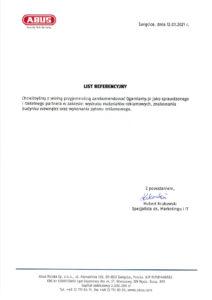 List referencyjny od Abus