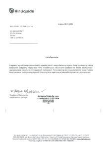 List referencyjny od Air Liquide