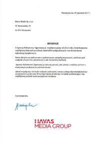 List referencyjny od Havas Media Group