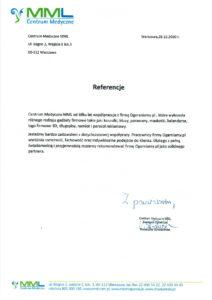 List referencyjny od MML Centrum Medyczne