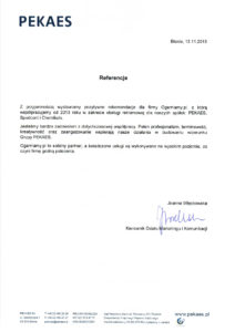 List referencyjny od Pekaes