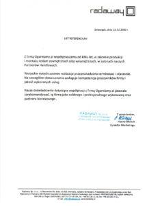 List referencyjny od Radaway