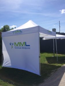 namiot reklamowy z logo mml warszawa